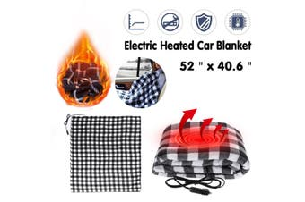 Portable 12V USB Electric Heated Car Office Use Winter Warm Blanket Cover Heater(black,black white)