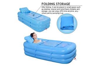 Inflatable Bath Tub Adult Portable SPA Warm Bathtub Blow Up Travel Bath Pool Blue