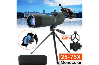 25-75X70 Waterproof Zoom Monocular BAK4 Spotting Scope With Tripod+Phone Adapter