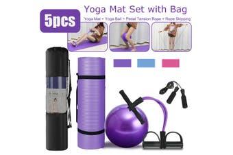 4Pcs TPE Yoga Eco Mat Set Pedal Tension Rope Pilates Ball Exercise Fitness Gym