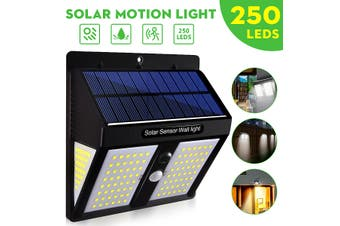250LED Solar Powered PIR Motion Sensor Light Garden Outdoor Security Lights