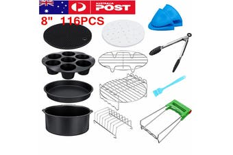 116PCS 8'' Air Fryer Accessories Frying Cage Dish Baking Pan Rack Pizza Tray Pot