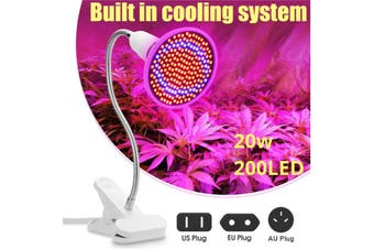 200LED Grow Light Full Spectrum Hydroponic Plant Desk Flexible Clip Lamp AU Plug