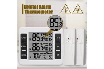w/2 Sensor LCD Wireless Digital Thermometer Fridge Freezer Alarm Indoor Outdoor
