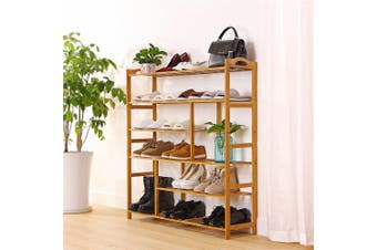 6 Tier Bamboo Shoe Rack Stand Wooden Seat Bench Organiser Shelf Stool Chair Storage Cab