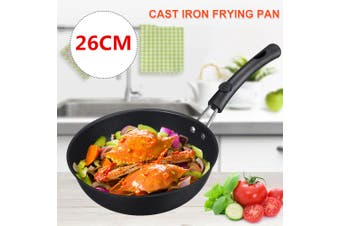26CM Cast Iron Skillet Fry Pan.Pre Seasoned Oven Safe Cooktop & BBQ For Gas Electric Induction