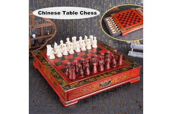 Vintage Wooden Chinese Chess Board Table Games Set Pieces Gift Collectibles AU