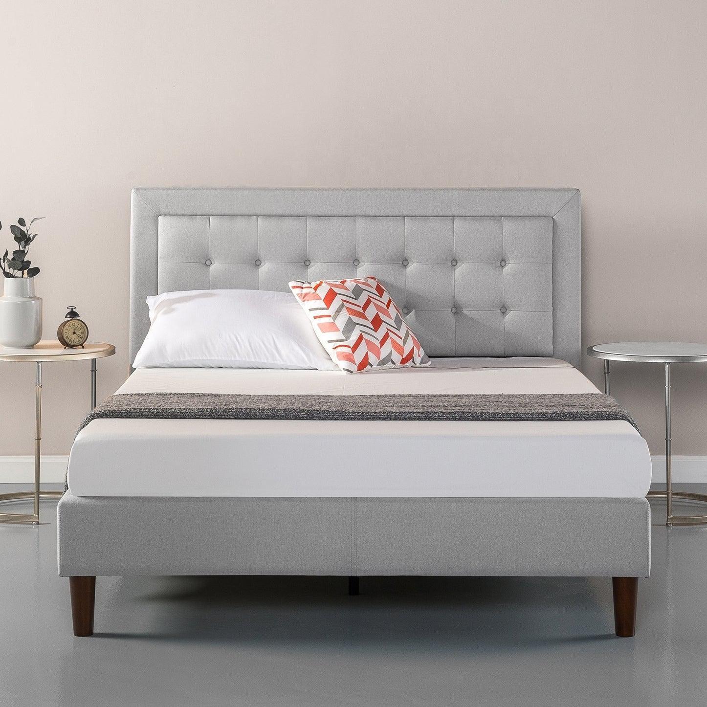 Zinus Dachelle Tufted Premium Platform Fabric Bed Frame Single Double Queen King Size Matt Blatt