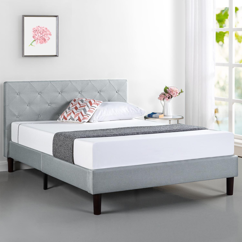 Zinus Upholstered Fabric Bed Frame Diamond Stitching Head Board Metal Frame Wood Slats Light Grey Matt Blatt