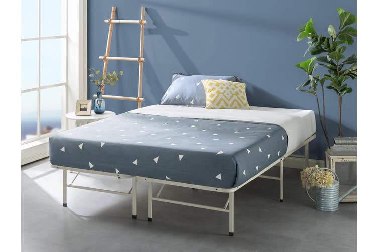 Zinus Premium White Metal Smartbase Bed, Foldable Queen Bed Frame With Storage