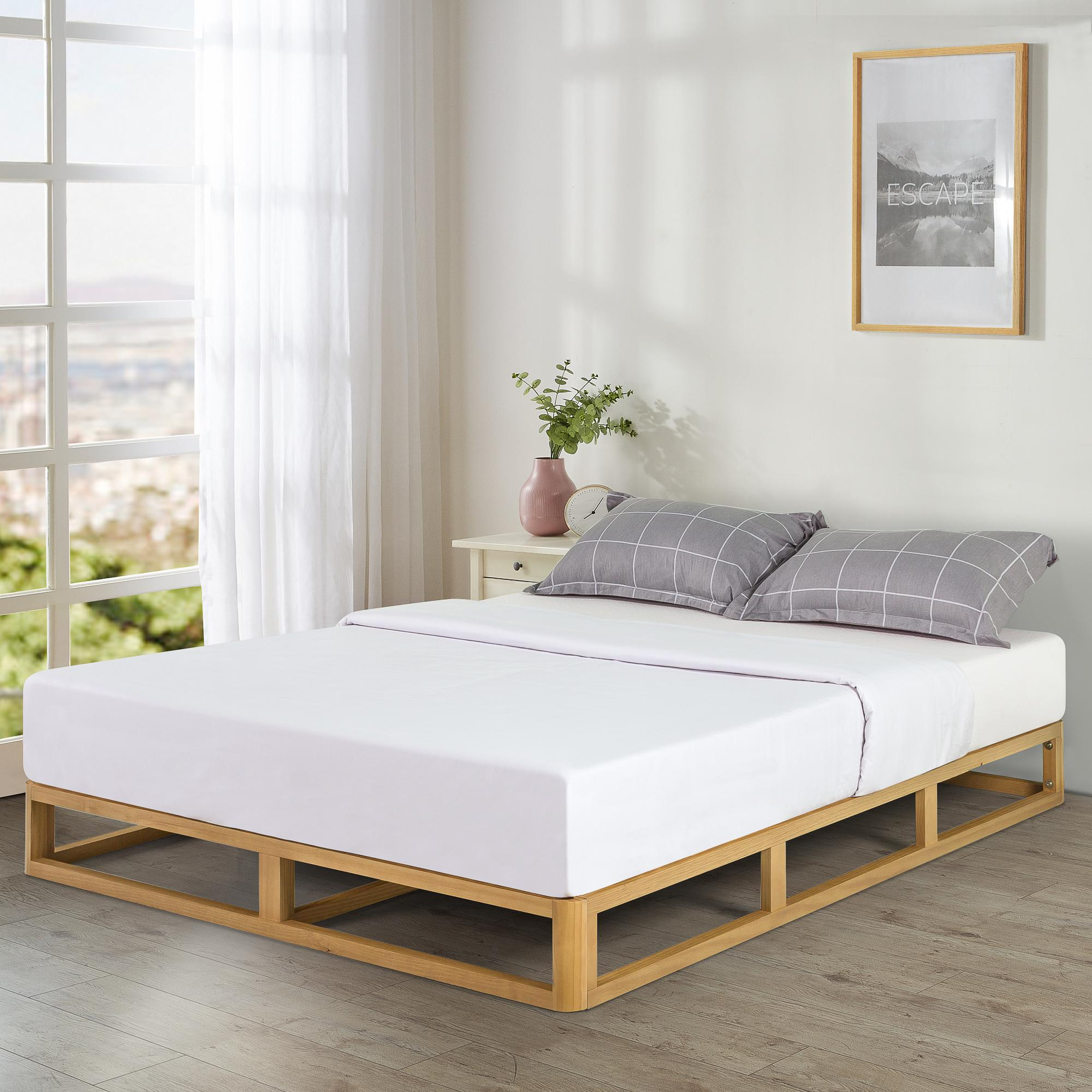 Zinus Industrial Pine Wood Bed Frame Low Bed Base Mattress Foundation Natural 20cm Double Queen Size Matt Blatt
