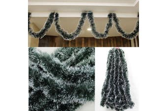 5x 2.5M Christmas Snow Tips Dark Green Tinsel Garland Snowflakes Decor Ornaments