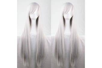 New 80cm Straight Sleek Long Full Hair Wigs w Side Bangs Cosplay Costume Womens - Silver