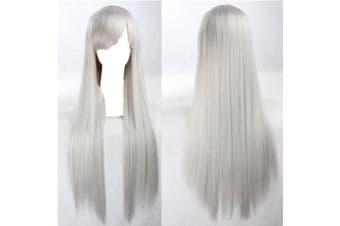 New 80cm Straight Sleek Long Full Hair Wigs w Side Bangs Cosplay Costume Womens - Grey