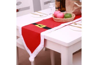 New Christmas Santa Belt Table Runner Cloth Mat Desk Cover Home Party Xmas Decor