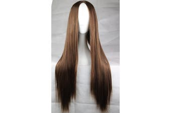 New 75cm Straight Sleek Long Synthetic Cosplay Costume Wigs Party Womens Gift - Brown