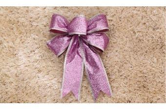 2x Christmas Glitter Bows Bowknot Door Window Wreath Tree Topper Xmas Decoration - Purple
