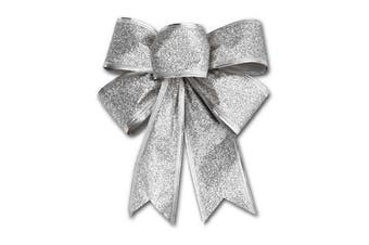 2x Christmas Glitter Bows Bowknot Door Window Wreath Tree Topper Xmas Decoration - Silver