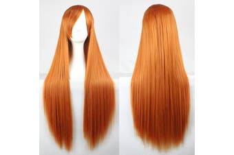 New 80cm Straight Sleek Long Full Hair Wigs w Side Bangs Cosplay Costume Womens - Orange