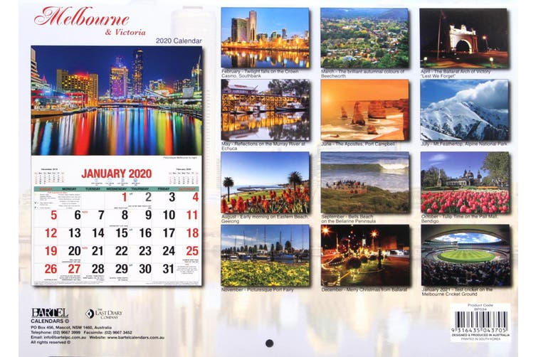 Melbourne & Victoria 2020 Rectangle Wall Calendar 16 Months New Year Decor Gift