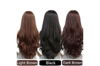 Long Wavy Curly Full Hair Wigs w Side Bangs Cosplay Costume Fancy Anime Womens - Dark Brown