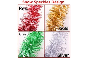 2x 2.5m Christmas Tinsel Xmas Garland Sparkly Snowflake Party Natural Home Décor - Snow Speckles in Gold