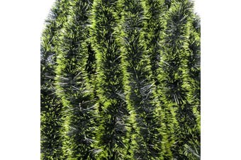 2x 2.5m Christmas Tinsel Xmas Garland Sparkly Snowflake Party Natural Home Décor - Snow Tips in Green (2m)