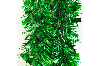 2x 2.5m Christmas Tinsel Xmas Garland Sparkly Snowflake Party Natural Home Décor - Thick Green