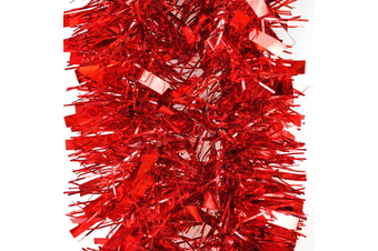 2x 2.5m Christmas Tinsel Xmas Garland Sparkly Snowflake Party Natural Home Décor - Thick Red