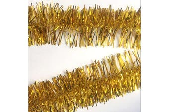 2x 2.5m Christmas Tinsel Xmas Garland Sparkly Snowflake Party Natural Home Décor - Traditional Gold