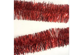 2x 2.5m Christmas Tinsel Xmas Garland Sparkly Snowflake Party Natural Home Décor - Traditional Red