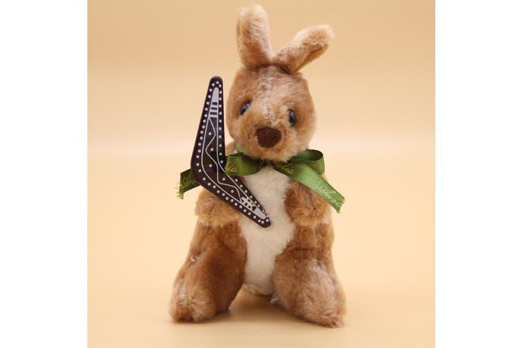 3x Australian Souvenir Soft Plush Toy Koala Kangaroo Australia Animals w Flag - Kangaroo w Boomerang