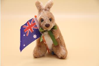 3x Australian Souvenir Soft Plush Toy Koala Kangaroo Australia Animals w Flag - Kangaroo w Flag