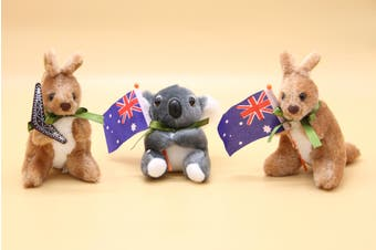 3x Australian Souvenir Soft Plush Toy Koala Kangaroo Australia Animals w Flag - Mixed Designs