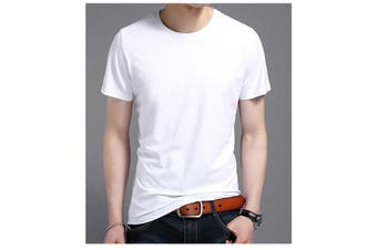 Men's Cotton Fashion Short Sleeve Crew Neck Tops Plain Basic T-Shirt Blank Tee - White - White