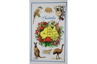 New Cotton Australia Kitchen Tea Towels Linen Teatowels Dish Cloth Souvenir Gift - Australia Animals Map C