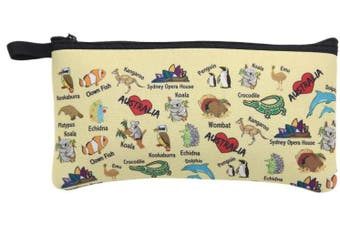Australian Souvenir Zipped Pencil Case Pouch Bag Aboriginal Animal Map Melbourne - Australian Animals