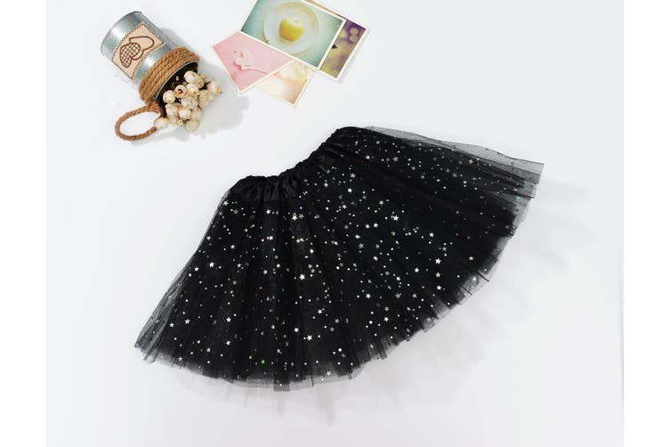 Sequin Tulle Tutu Skirt Ballet Kids Princess Dressup Party Baby Girls Dance Wear - Black (Size: Kids)