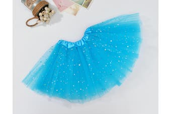 Sequin Tulle Tutu Skirt Ballet Kids Princess Dressup Party Baby Girls Dance Wear - Blue (Size: Kids)