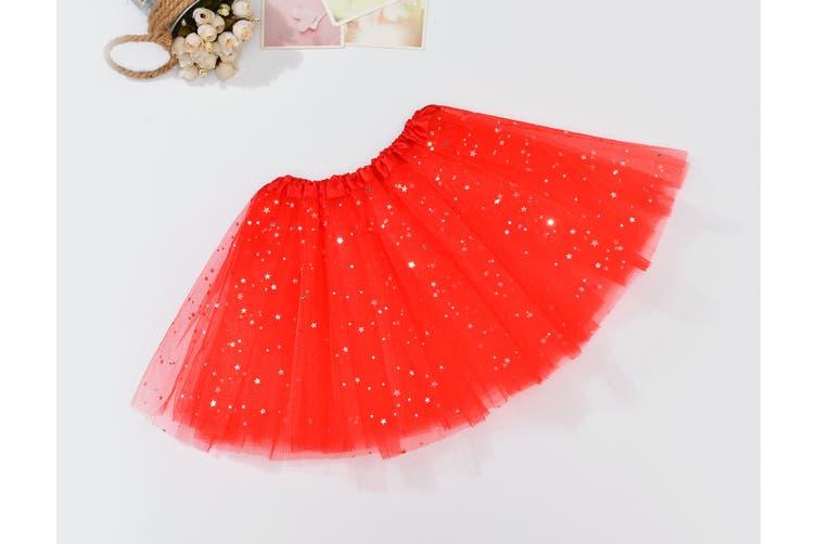 Sequin Tulle Tutu Skirt Ballet Kids Princess Dressup Party Baby Girls Dance Wear - Red (Size: Kids)