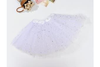 Sequin Tulle Tutu Skirt Ballet Kids Princess Dressup Party Baby Girls Dance Wear - White (Size: Kids)