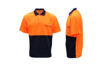 HI VIS Safety Work Wear Polo Shirt Cool Dry Breathable Short Sleeve Top Two Tone - Orange - Orange