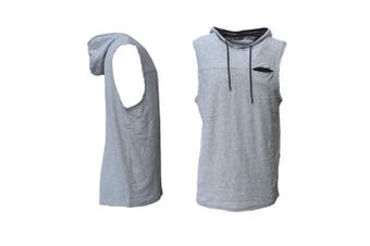 Men's Sleeveless Hoodie Top w Pocket Hooded Gym Muscle Vest Singlet Hoody Cotton - Light Grey - Light Grey