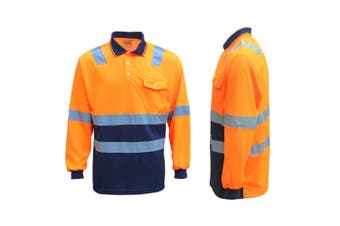 HI VIS Long Sleeve Workwear Shirt w Reflective Tape Cool Dry Safety Polo 2 Tone - Fluoro Orange / Navy - Fluoro Orange / Navy