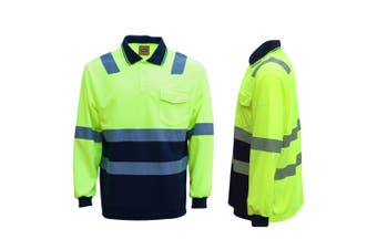 HI VIS Long Sleeve Workwear Shirt w Reflective Tape Cool Dry Safety Polo 2 Tone - Fluoro Yellow /Navy - Fluoro Yellow /Navy