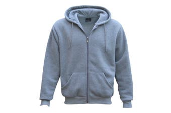 Adult Unisex Plain Fleece Hoodie Hooded Jacket Men's Zip Up Sweatshirt Jumper - Light Grey - Light Grey