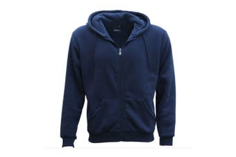Adult Unisex Plain Fleece Hoodie Hooded Jacket Men's Zip Up Sweatshirt Jumper - Navy - Navy