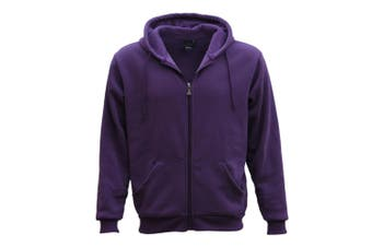 Adult Unisex Plain Fleece Hoodie Hooded Jacket Men's Zip Up Sweatshirt Jumper - Purple - Purple