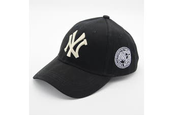 NEW Unisex New York NY Yankees Baseball Mens Women Hat Sport Snapback Cap Cotton - Black w Cream Embroidery