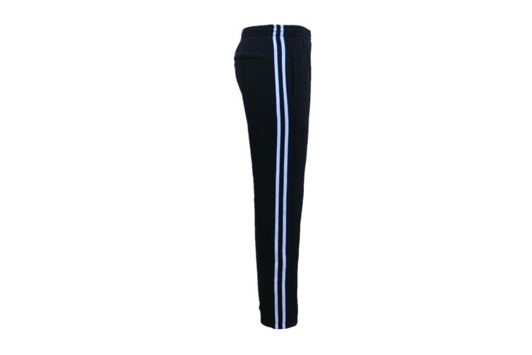 New Men's Fleece Lined Casual Sports Track Suit Striped Sweat Pants Gym Trackies - Black (Size: M)